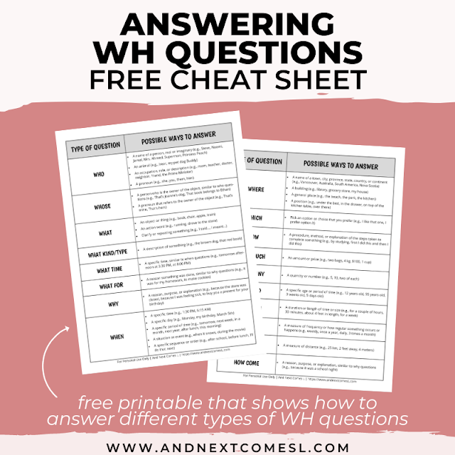 Free printable answering WH questions cheat sheet