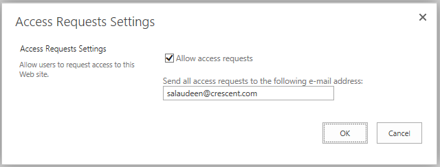 sharepoint 2013 access request email address