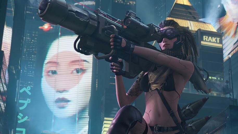 Cyberpunk, Girl, Night, City, 4K, #4.3070