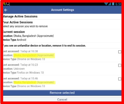 logout of facebook on all devices from mobile