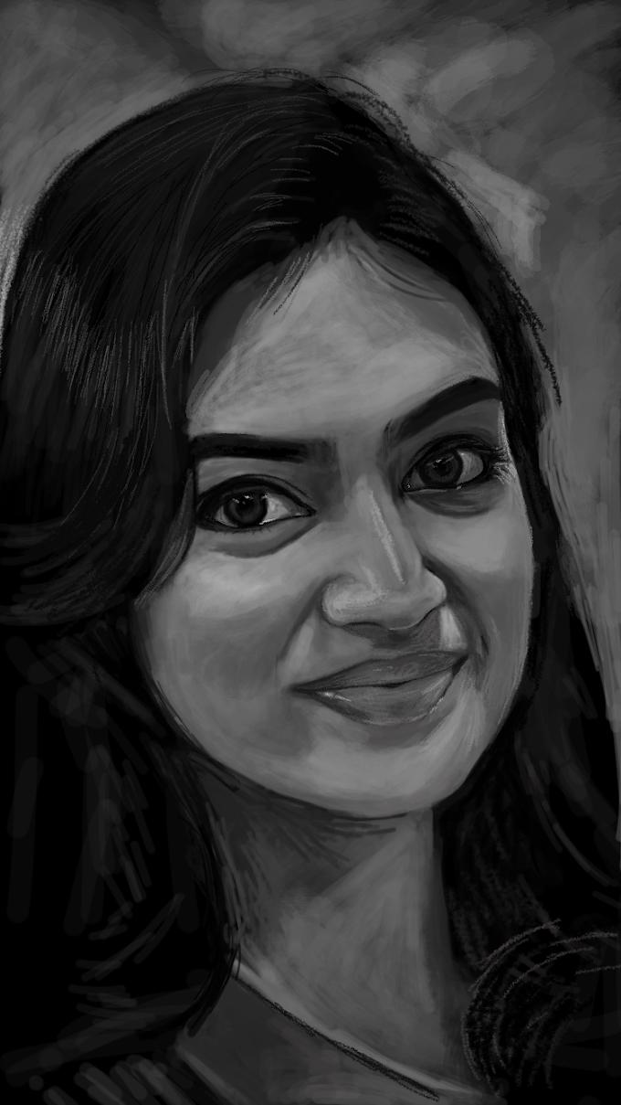 Nazriya Nazim - A finger art on iphone 6s