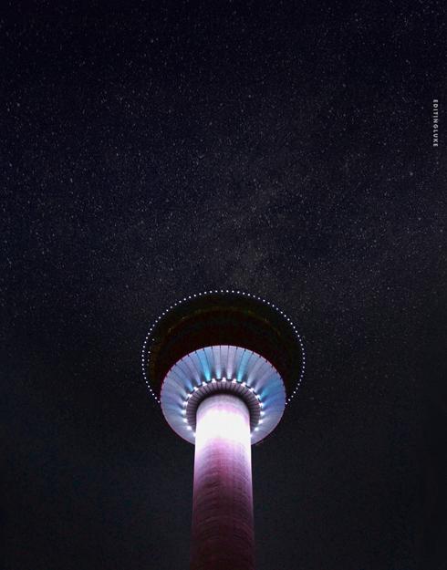 Calgary Tower Night Sky