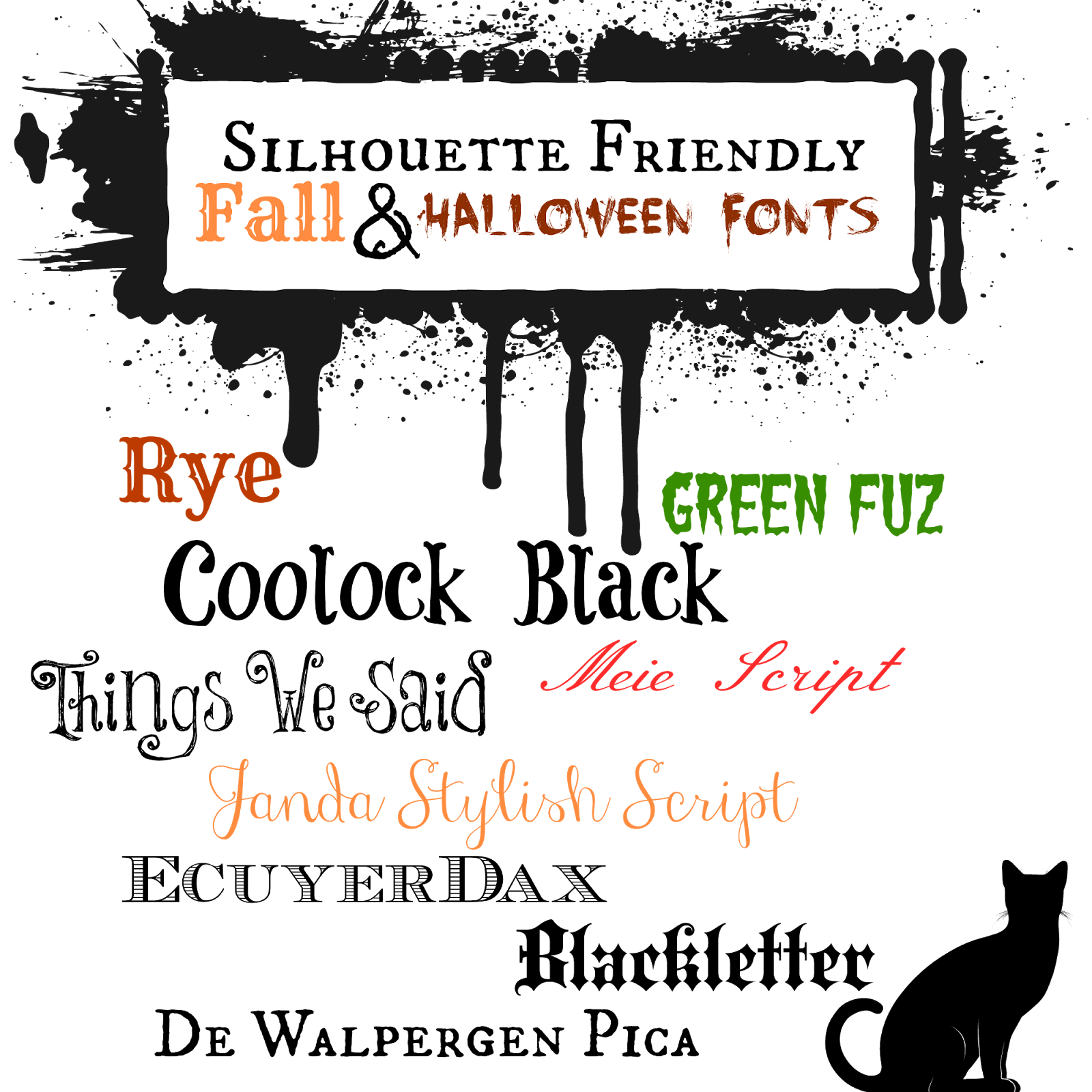 Silhouette, friendly, free, halloween designs, fonts
