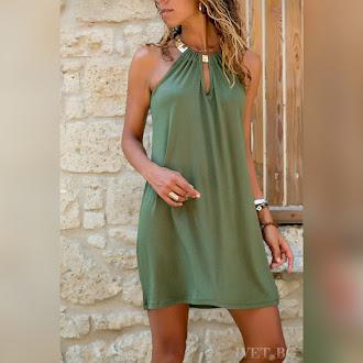 Μοντέρνο κοντό πράσινο φόρεμα DORIA GREEN