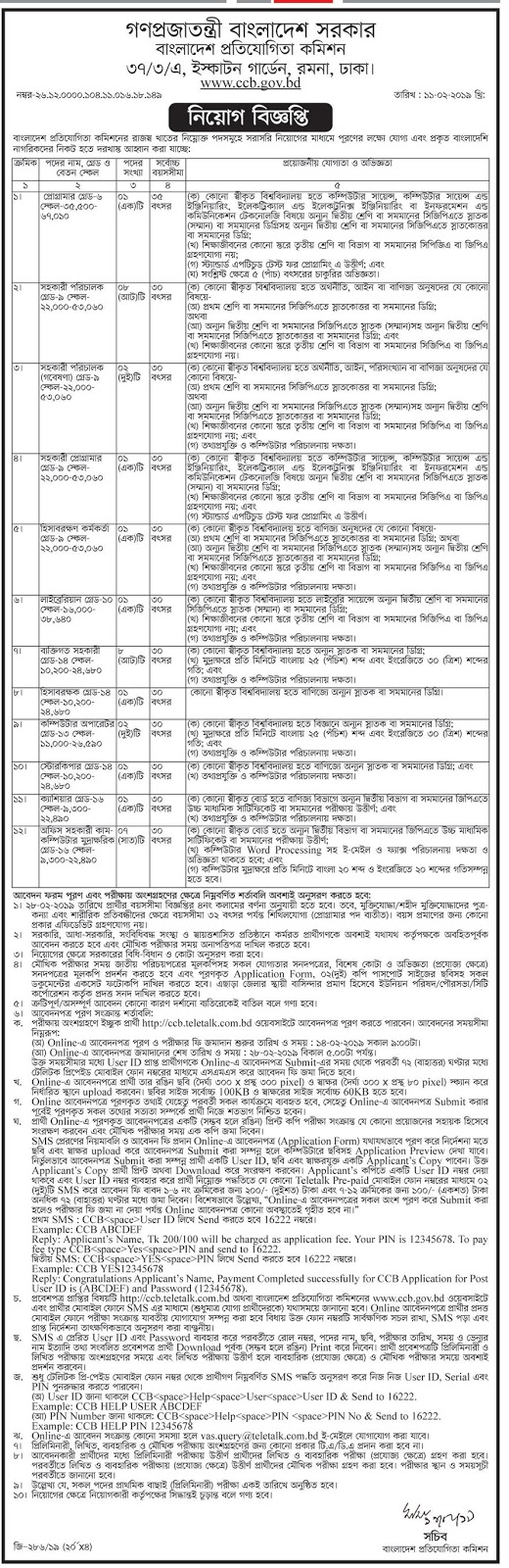 Competition Commission of Bangladesh (CCB) Job Circular 2019