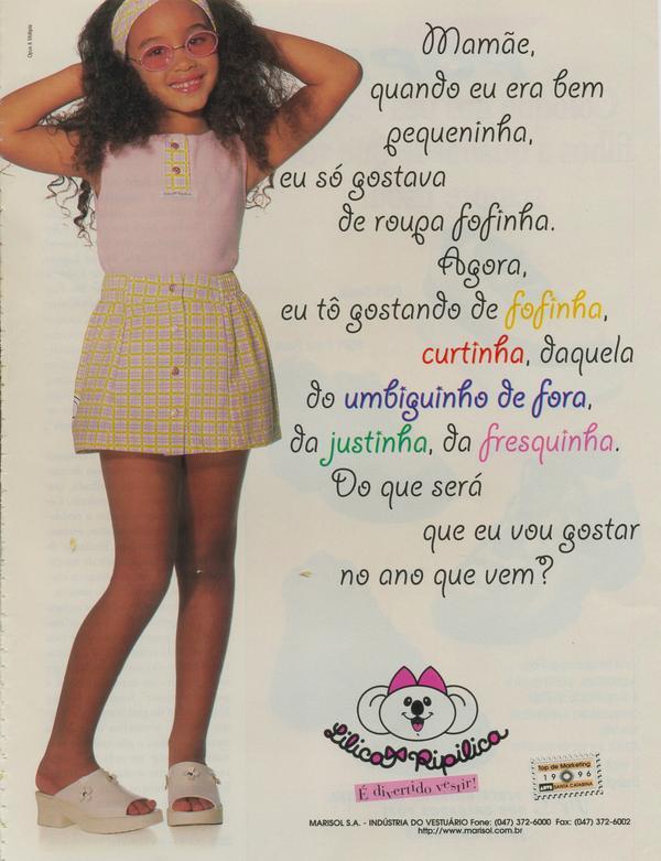Propaganda antiga da Lilica Ripilica promovendo sua linha de roupas infantis em 1997