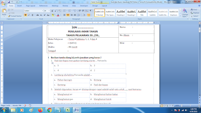 Soal Ukk Tema 8 Kelas 1 Dan Kunci Jawaban Kurikulum 2013