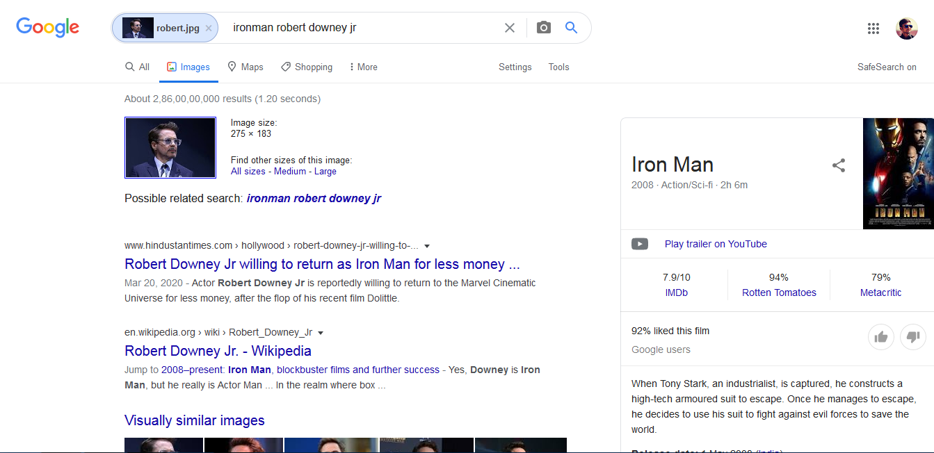 Search results provided by Google Image Search for Robert Downey jr.