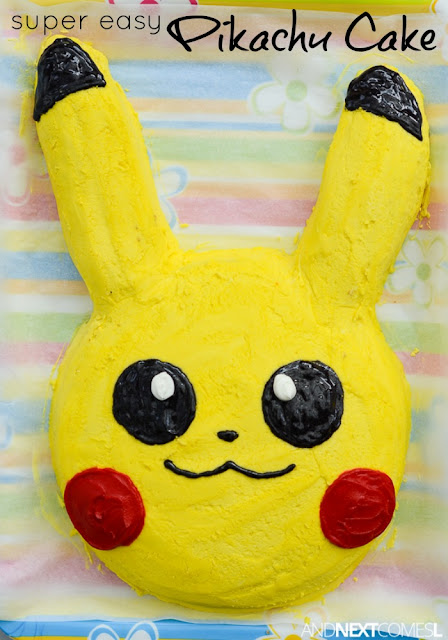 How to make a Pikachu cake for a Pokemon themed birthday party from And Next Comes L