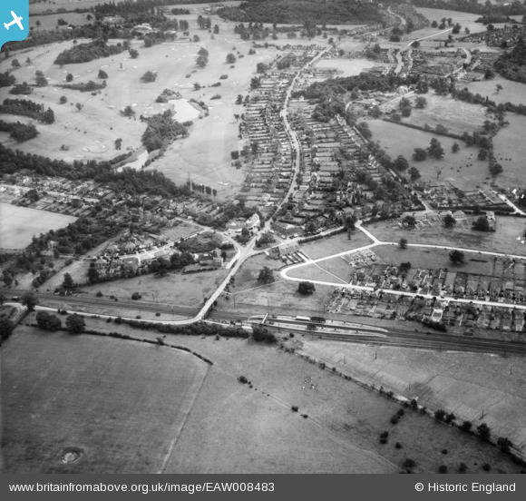 Aerial photograph of Brookmans Park Railway Station and Brookmans Avenue, Brookmans Park, 1947