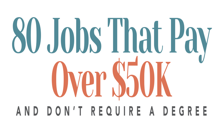 80 Jobs That Pay Over $50K and Don't Require a Degree #infographic