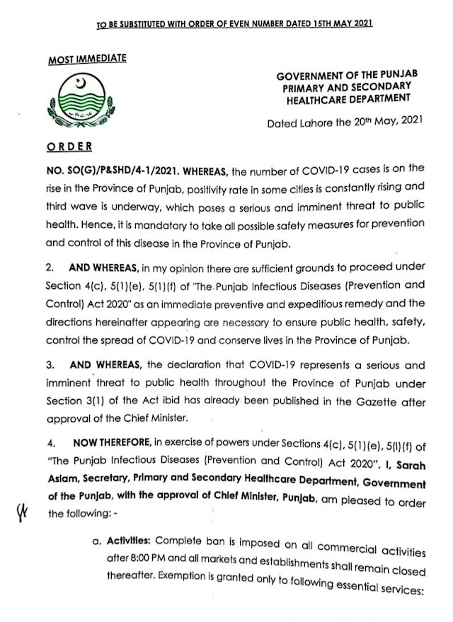 LOCKDOWN ORDER ON 20.05.2021 IN PUNJAB