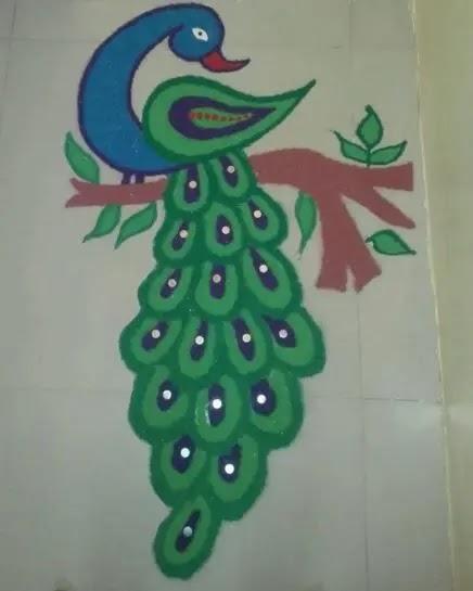 green peacock rangoli design