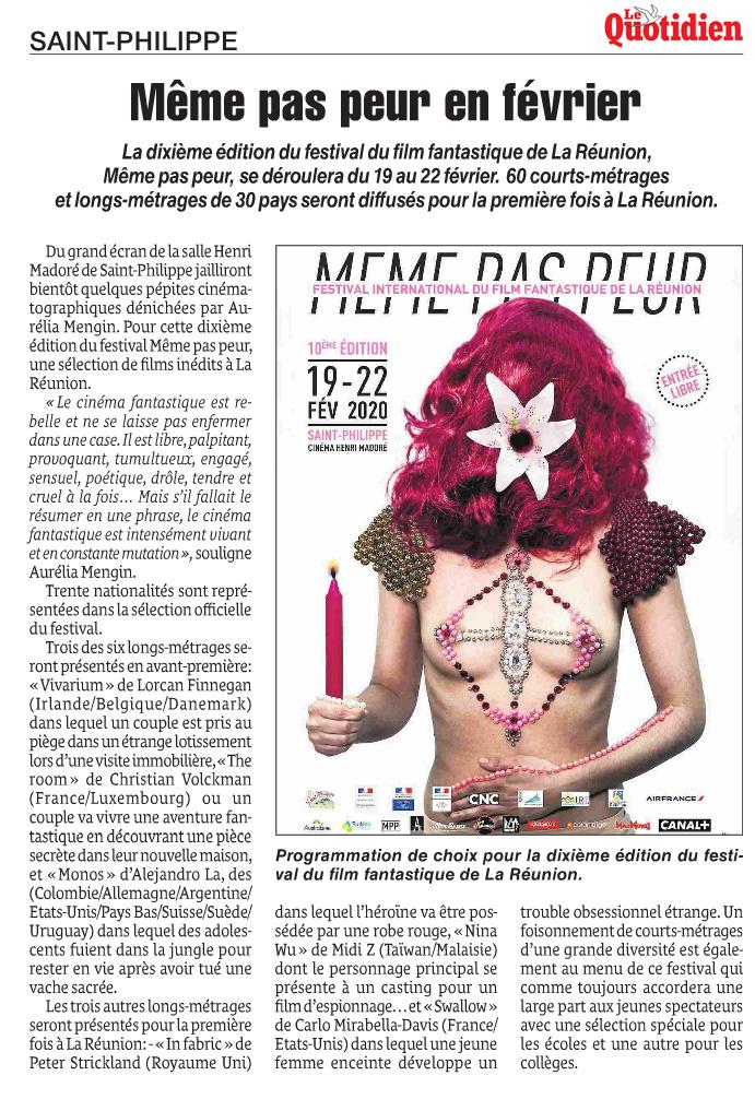 La 10ème édition du Festival MEME PAS PEUR dans Le Quotidien