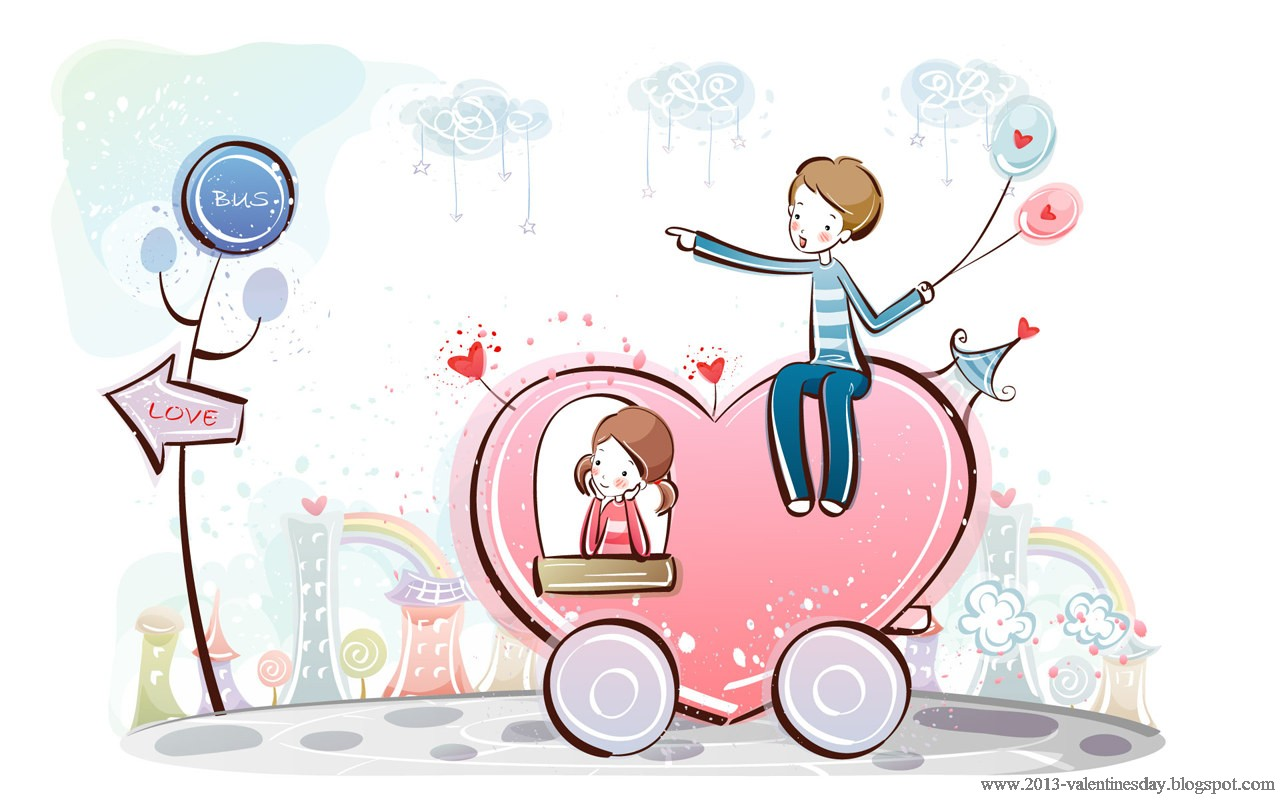 Cute cartoon couple love hd wallpapers for valentines day - Cartoon valentine wallpaper ...