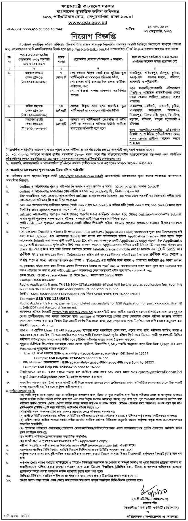 বাংলাদেশ ভূতাত্ত্বিক জরিপ অধিদপ্তর (gsb) এ নিয়োগ বিজ্ঞপ্তি ২০২১