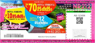 Kerala Lottery Results 19-02-2021 Nirmal NR-212 Lottery Result