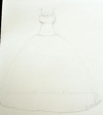 Szycie sukni ślubnej cz. 2 - wykroje i szkice: góra (gorset), spódnica i halka
