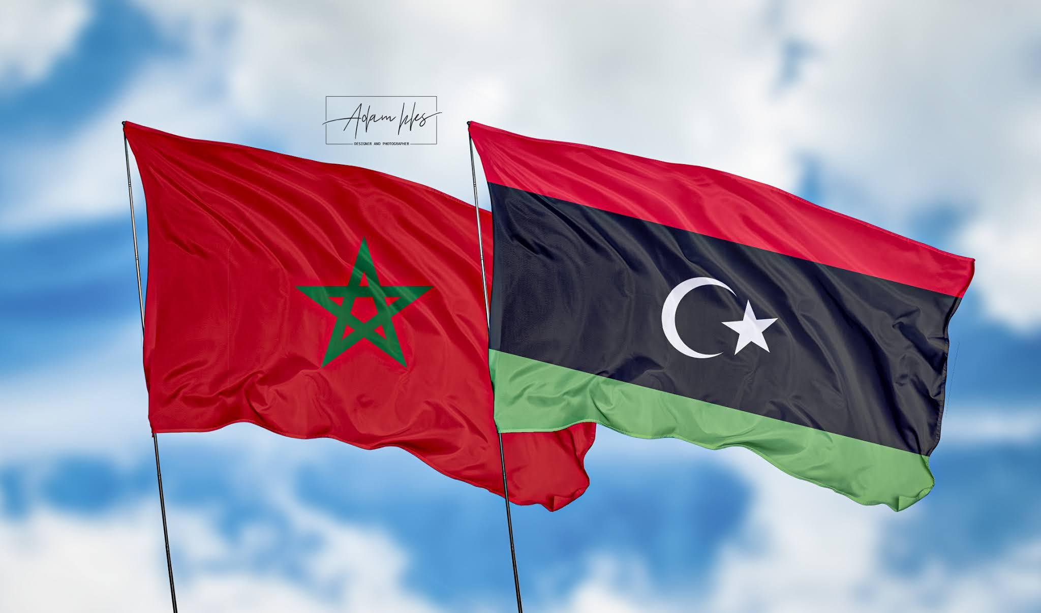 تحميل اجمل خلفية المغرب وليبيا خلفيات اعلام ليبيا والمغرب ترفرف في السماء