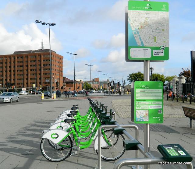 Bicicletas públicas em Liverpool, Inglaterra