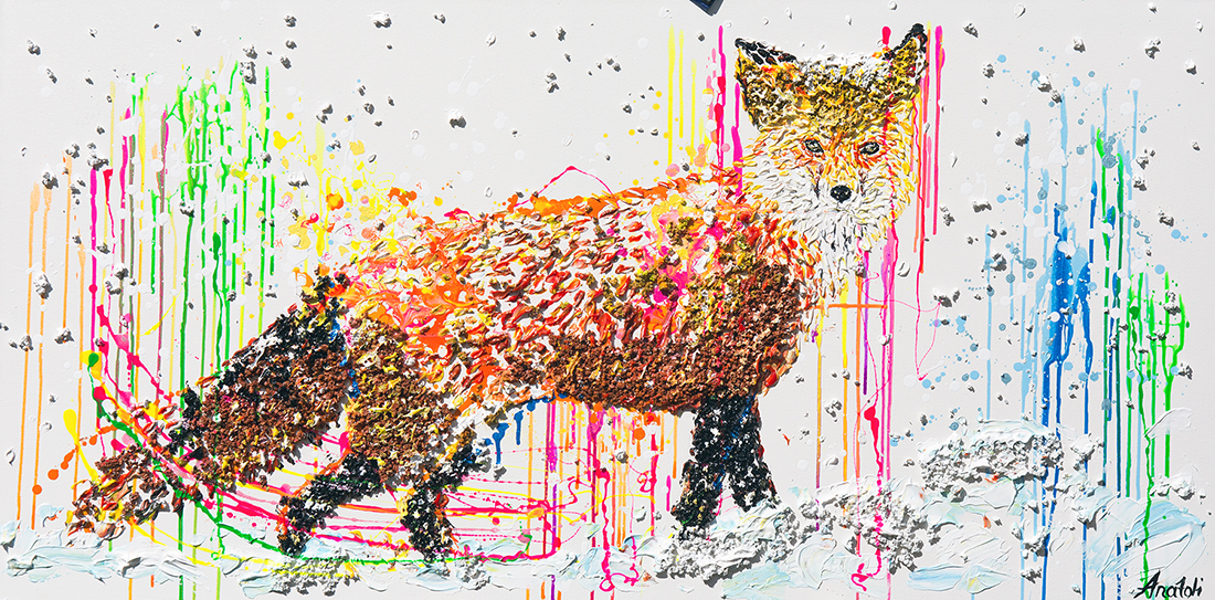 fox  acrylic painting,fox heavy textured painting, fox dot, mixed fox, unique fox painting on canvas, anatoli fox, anatoli voznarski, 3D Squirrel painting, fox painting, animal painting, abstract fox, oil fox