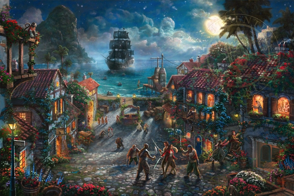 04-Pirates of the Caribbean-Thomas-Kinkade-Walt-Disney-Stories-Seen-Through-Paintings-www-designstack-co