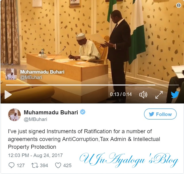 JUST IN: Buhari Signs Anti-Graft Agreements..WATCH VIDEO
