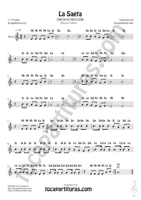 La Saeta Partitura versión fácil con Notas para aprender con Flauta, Violin, Oboe, Trompeta, Clarinete, Trompa, Corno inglés, Saxofones Tenor, Soprano, Alto   El vídeo tutorial sirve para instrumentos afinados en Do, Flautas, Violín, Oboe, Armónica...