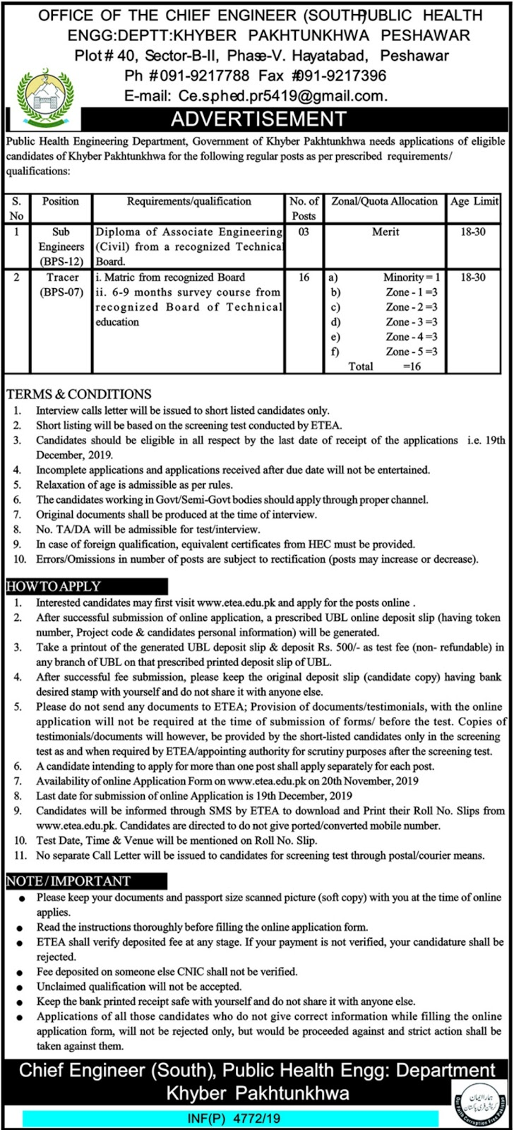 Public Health Engineering Department PHED Jobs 2019