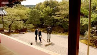 Raking a zen garden