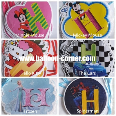Bunting Banner HAPPY BIRTHDAY Motif Karakter Disney