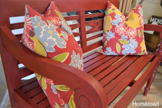 This red bench has a new life with red chalky paint and dark wax