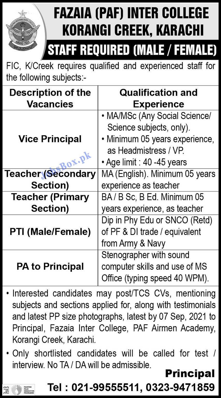 Fazaia Inter College Korangi Creek Karachi Jobs 2021 – Teachers Jobs