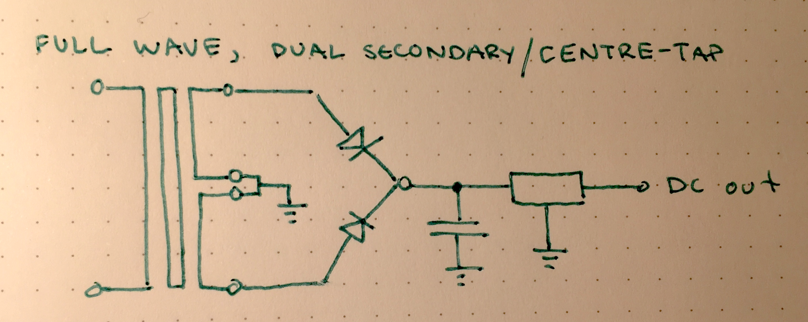 hight resolution of instead of using four diodes we get away with two ground is connected to the centre tap