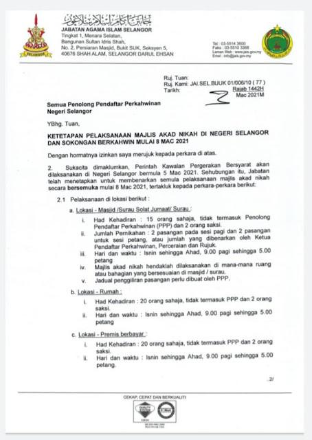 Kebenaran Pelaksanaan Majlis Akad Nikah Secara Bersemuka Di Selangor Bermula 8 Mac 2021