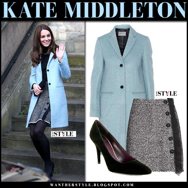 Kate Middleton in light blue wool mulberry paddington coat and boucle button mini skirt dolce gabbana what she wore