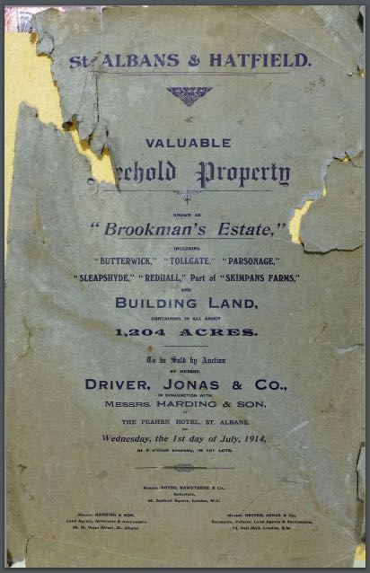 Cover of the 1914 sale of elements of the Brookmans Estate from the Peter Miller collection