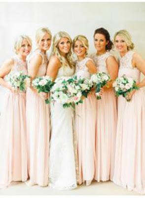 Lace Chiffon Crew Neck Bridesmaid Dresses Open Back Long Floor Length Maid of Honor Dresses