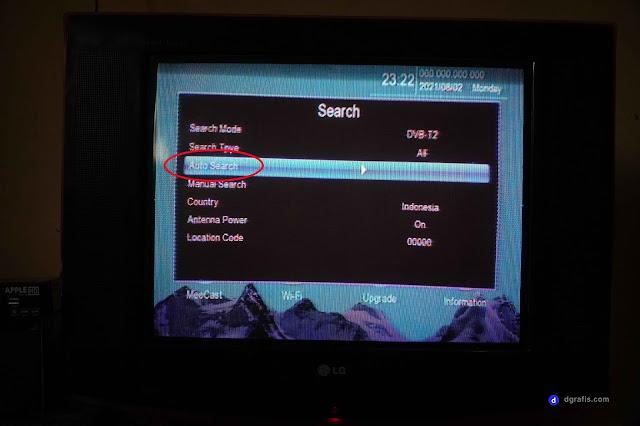 Pilih menu Auto Search untuk mencari channel tv digital secara otomatis