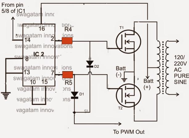 make this ic 556 pure sine wave inverter circuit homemade circuit