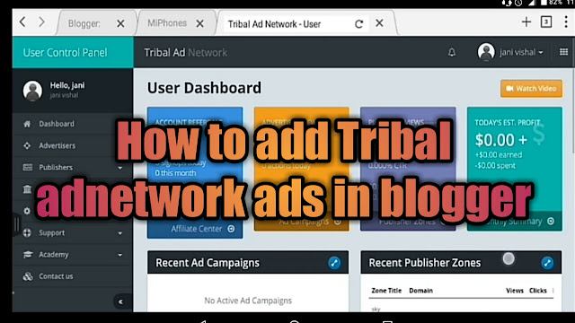 how to add tribal adnetwork ads in blogger website