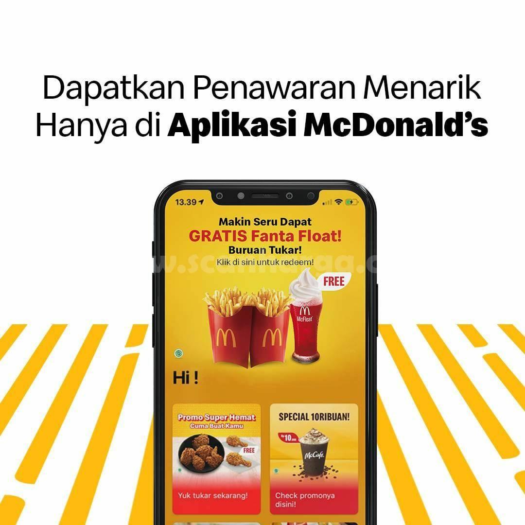 McDonalds Promo Beli 2 Large Fries Gratis Fanta McFloat via Aplikasi McD