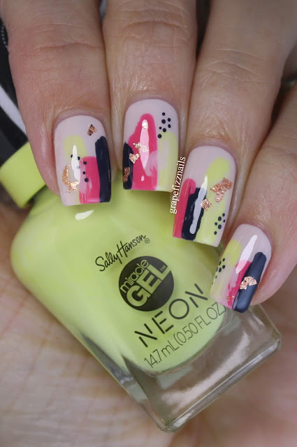 Summer Brush Stroke Nail Art