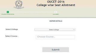 OUCET 2016 College-wise seat allotment-list