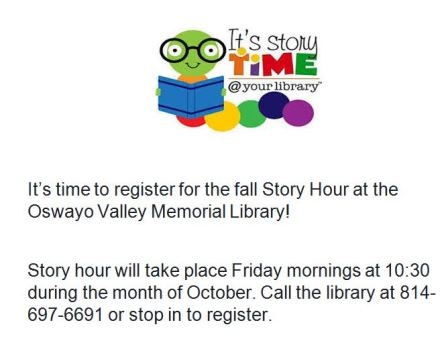 Register Now For Story Hour