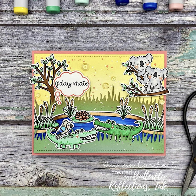 Sunny Studio Stamps: Outback Critters Country Scenes Customer Card by Davina