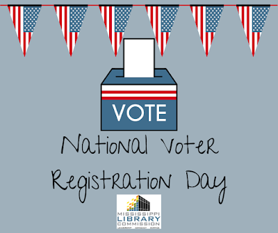 triangular united states flags hang from the top of this graphic. A ballot box with an empty ballot sticking out of the top has the word Vote printed on the front. Below this handwritten words read National Voter Registration Day. The MLC logo is below this.