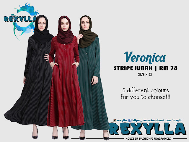 rexylla, stripe jubah, veronica collection