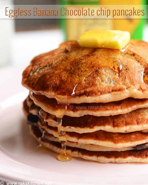 eggless banana chocolate chip pancake recipe