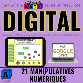 French Digital Math Manipulatives for Google